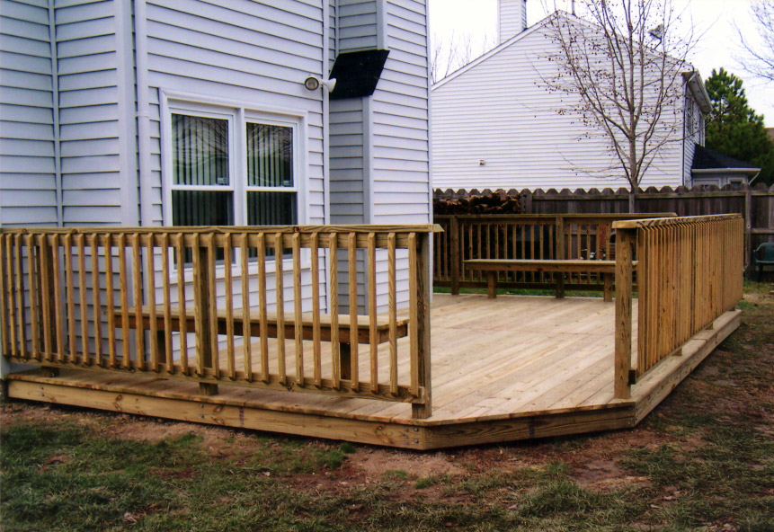 Wood deck ground level