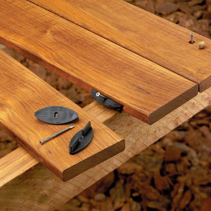 Wood deck hidden fastening systems