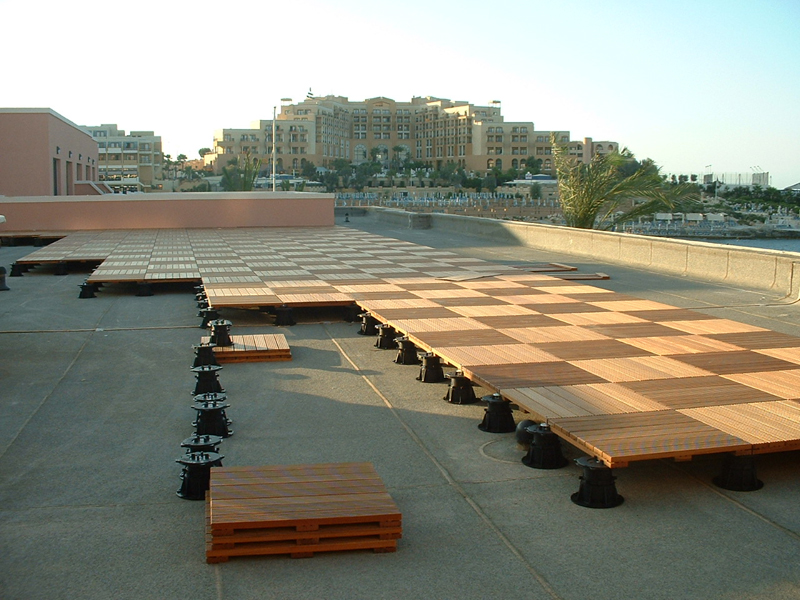 Wooden deck with roof
