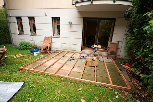 building a wooden deck on the ground