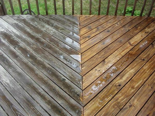 cleaning a wooden deck