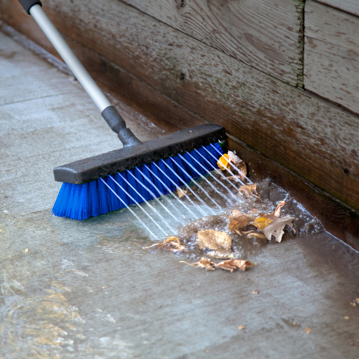 deck brush with hose attachment