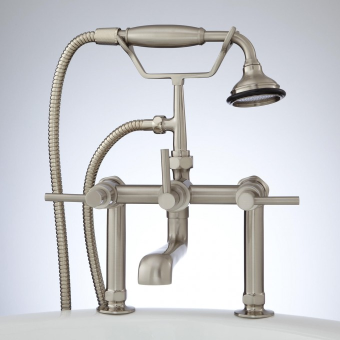 deck mount tub faucet with shower