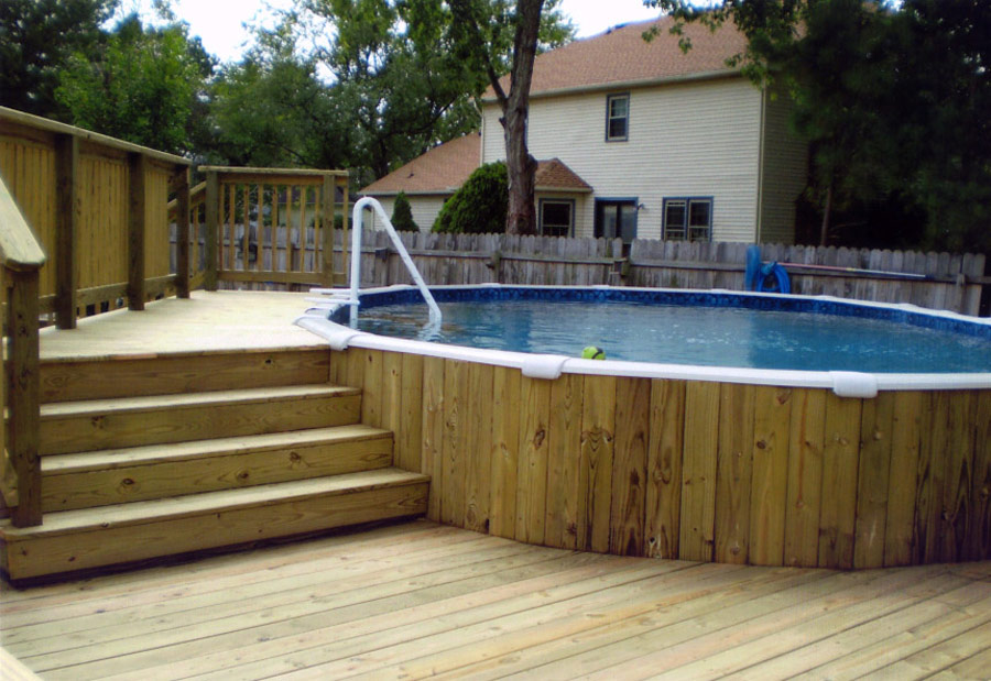 deck pictures with above ground pools - Above Ground Pool Floating Deck