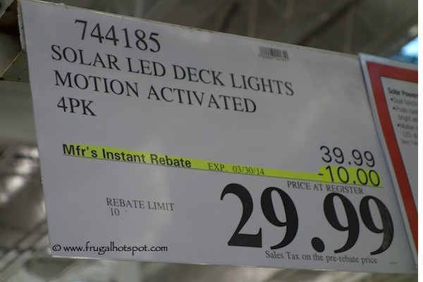 Unique Solar Patio Lights Costco Sonic Powered Lamp W 3 Mounting ...