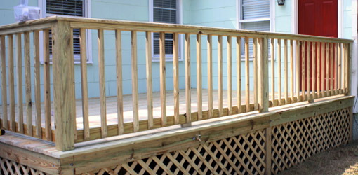 deck railing post spacing code