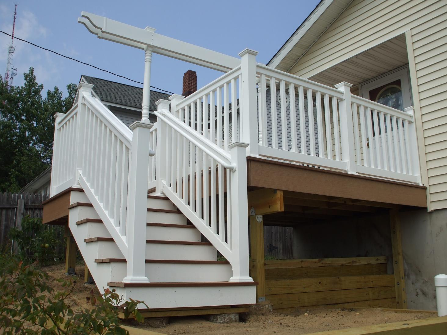 deck steps with landing