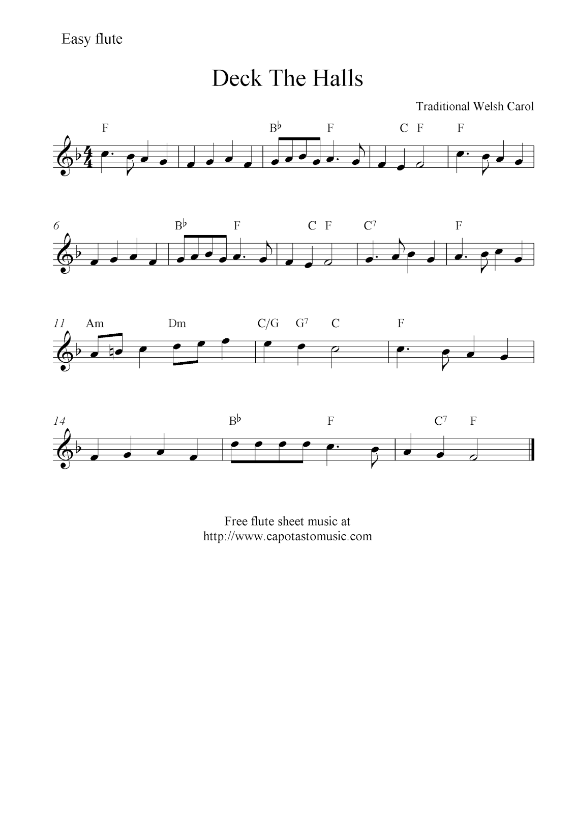 deck the halls sheet music for flute