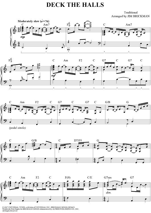 deck the halls sheet music piano