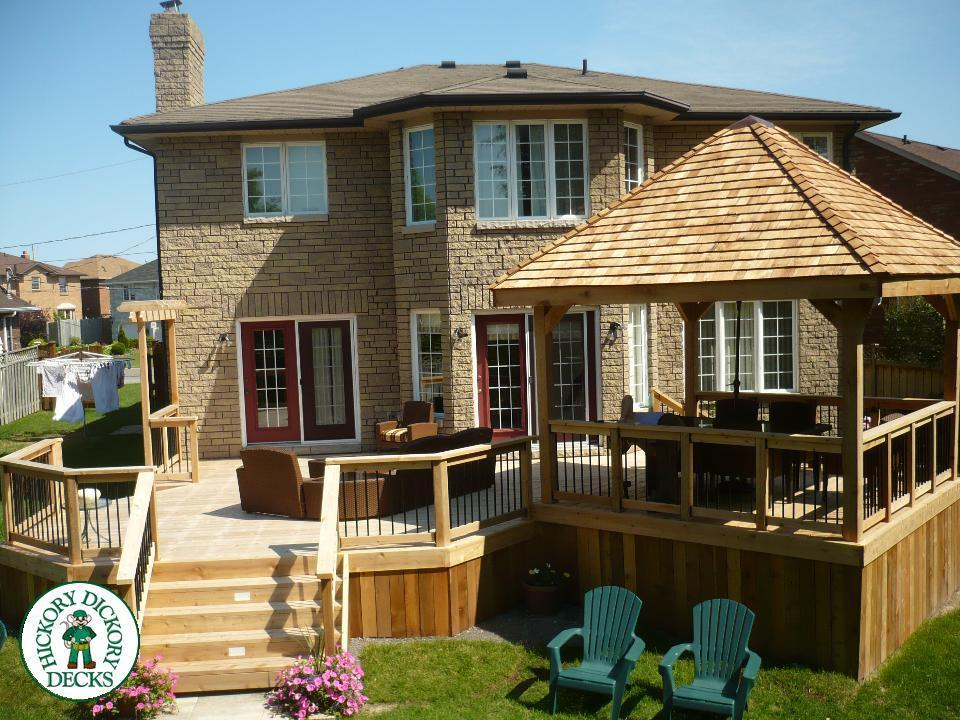 deck with built in gazebo