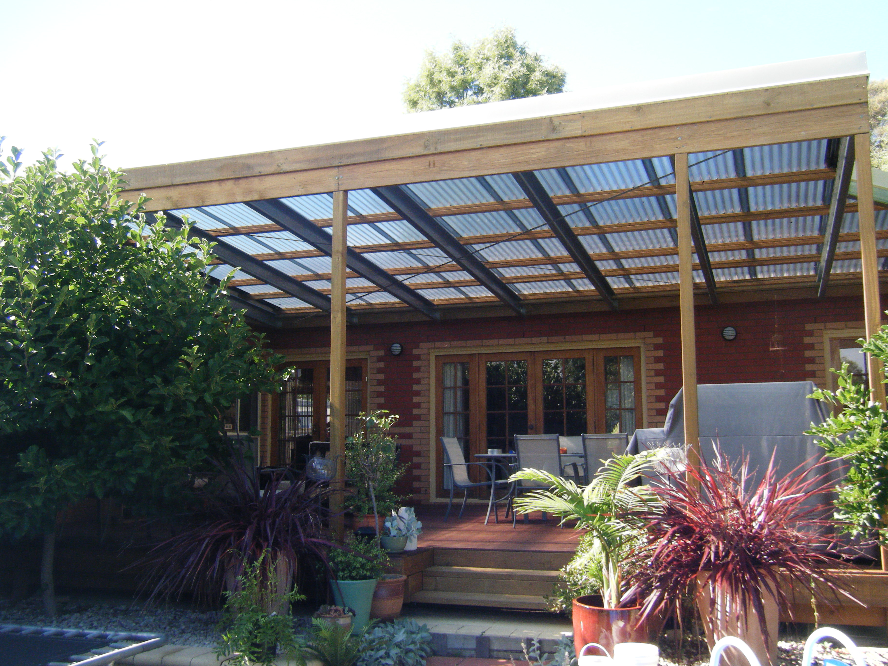 deck with covered pergola