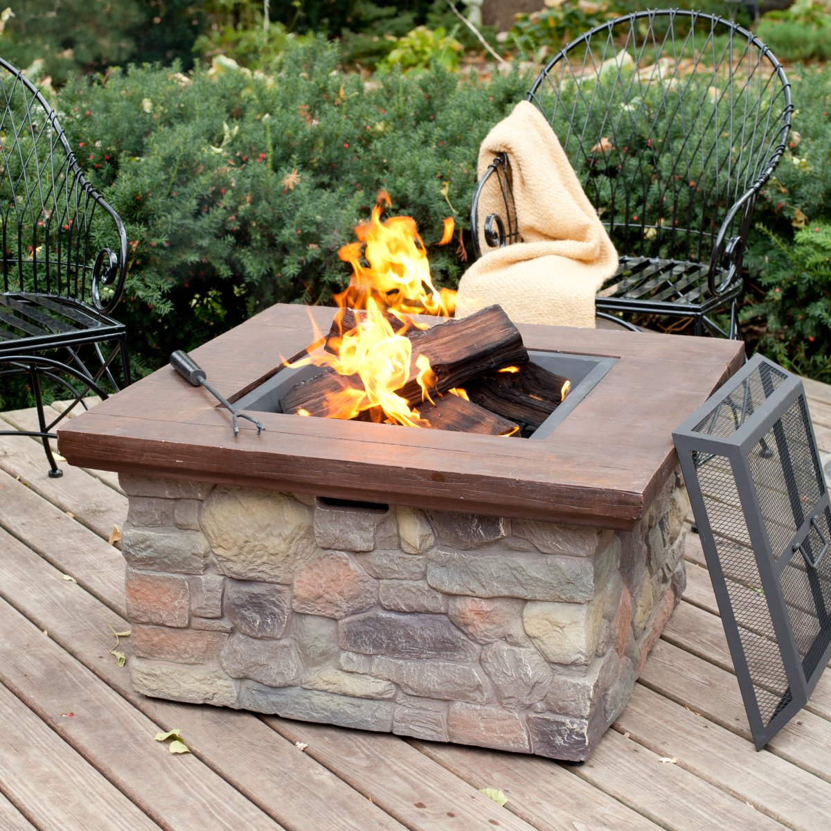 Wood fire pit on wood deck - Fire Pit Table On Wood Deck