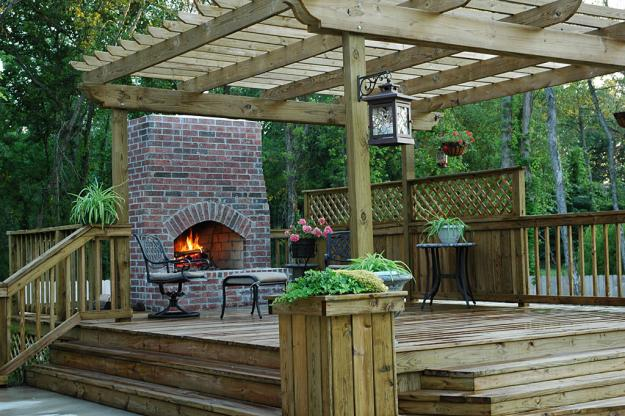 Fireplace in deck Deck design and Ideas