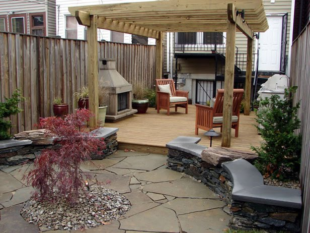 floating deck with pergola
