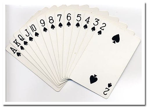 how to set a deck of cards for spades