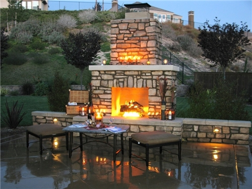 Outside fireplace chimney | Deck design and Ideas