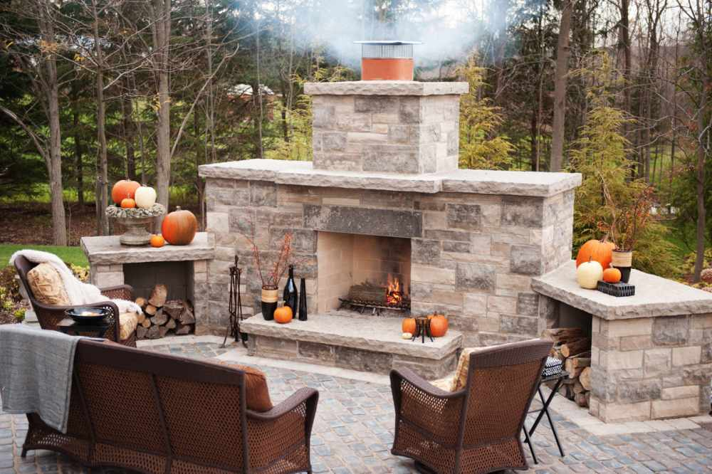 Outside stone fireplace pictures | Deck design and Ideas