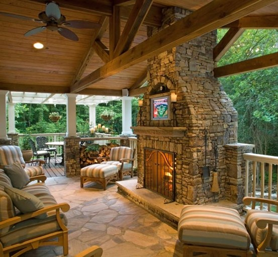 porch fireplace designs