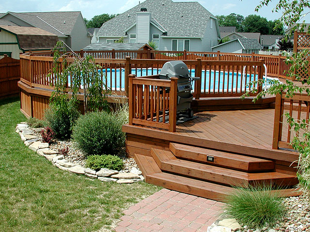 wood deck around above ground pool
