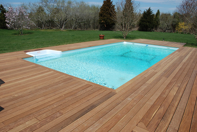 Wood deck around inground pool deck design and ideas for In ground pool deck ideas