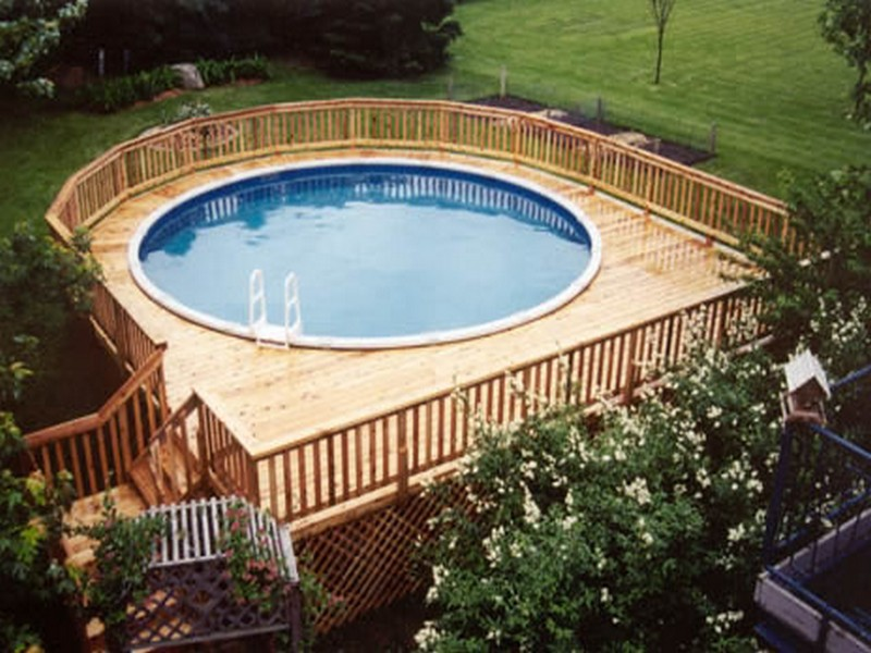 Wood deck for above ground swimming pool deck design and for Above ground pool decks nj