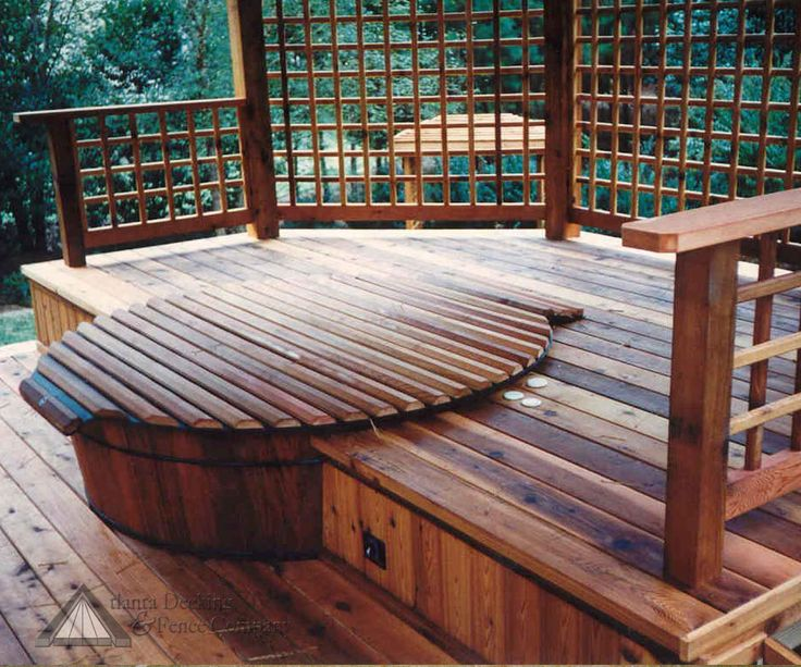 wood deck for hot tub