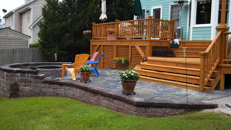 wood deck with stone patio